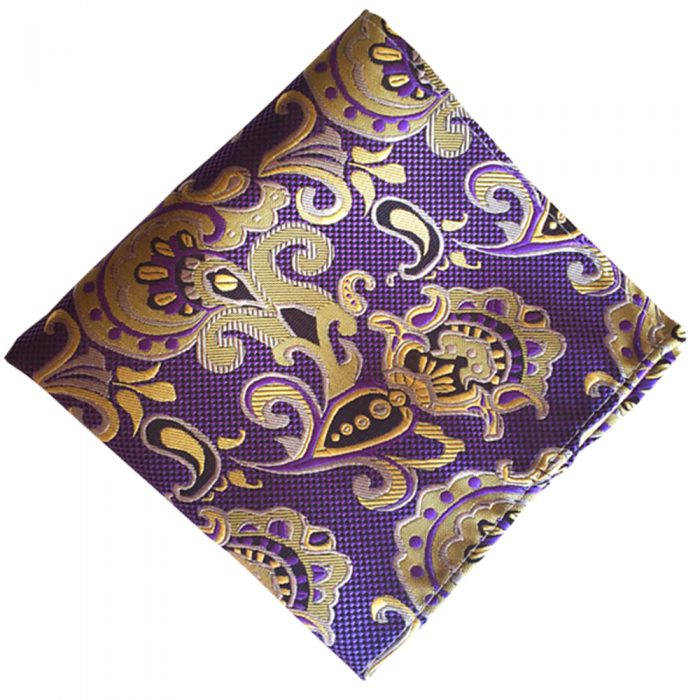 F62 100/% Silk Purple with Yellow Gold Paisley Design Men Silk Formal Pocket Square Hanky Wedding Party Handkerchief