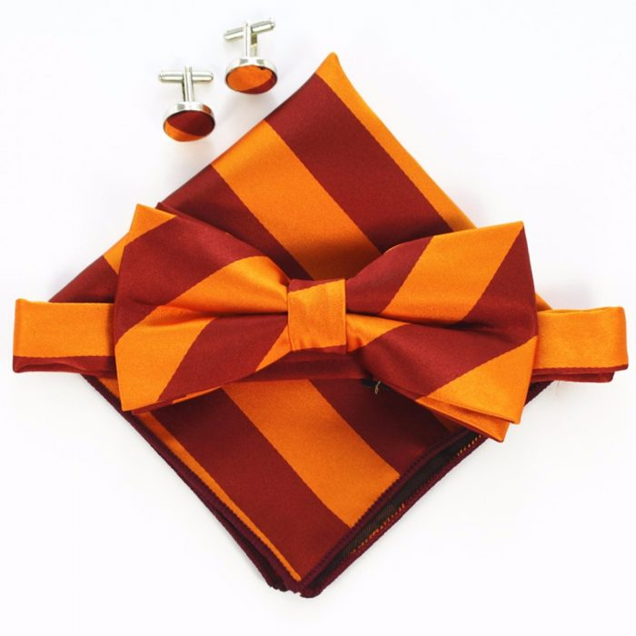 B15 Orange Red Stripe Men Bowtie Set With Cufflinks Pocket Square Boy Bow Tie
