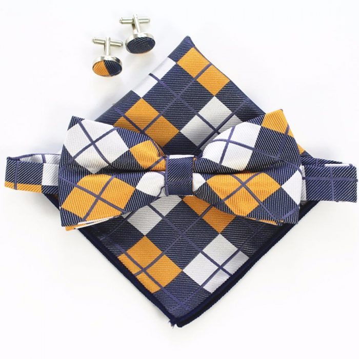 B34 Orange Blue Tartan Wedding Party Men Bowtie Set With Cufflink Pocket Square