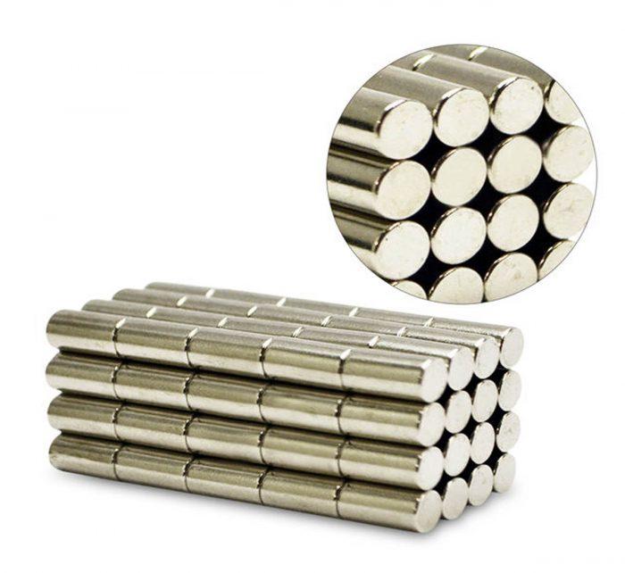 30pcs 6mm Flat Diameter x 10mm Length Strong Cylinder Neodymium Rod Magnets
